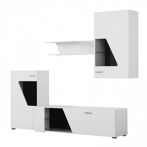 Biblioteca living Ringo, alb + alb lucios, 220 cm, 3C
