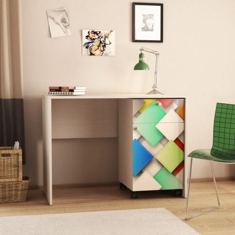 Birou calculator Andrei, stejar pastel + print P37, 103.5 x 76.5 x 56.5 cm, 3C