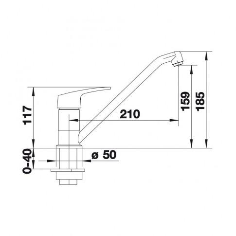 Baterie bucatarie, Blanco Wega-S 511110, stativa, monocomanda, silgranit alb