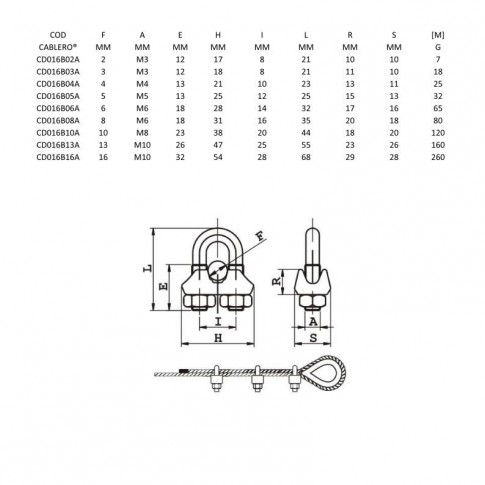Brida usoara, din inox, Cablero CD016B10A, pentru prindere cablu de otel de 10 mm