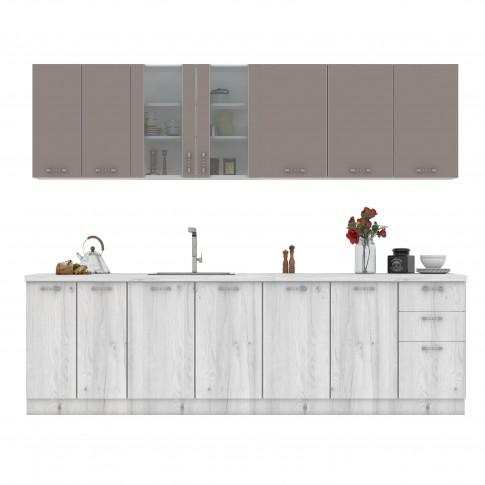 Bucatarie Flora, gri A480 + cappuccino, 260 cm, 8C