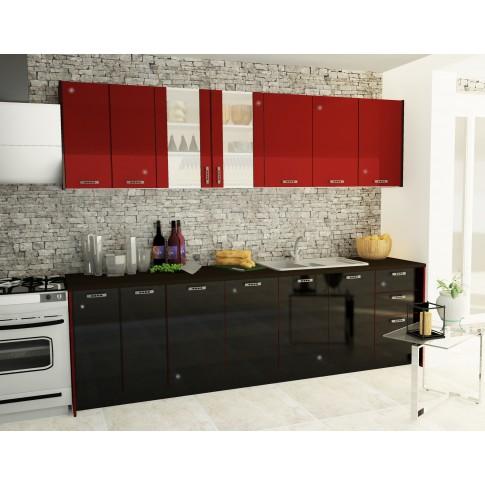 Bucatarie Callia, alb + negru + rosu, 263.6 cm, 9C