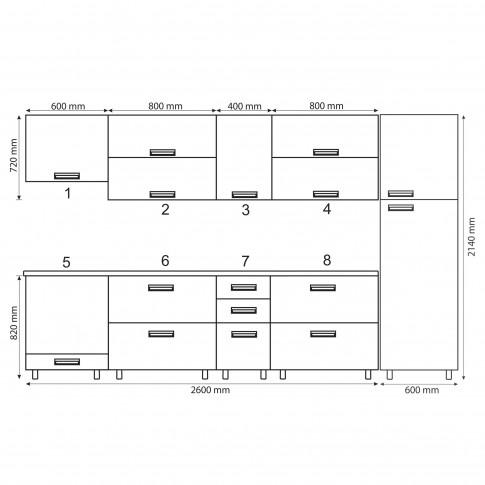 Bucatarie Cataleya, print + gri inchis, 320 cm, 17C