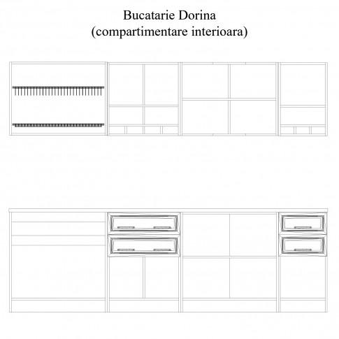 Bucatarie Dorina, alb + crem + stejar magia, 262 cm, 14C