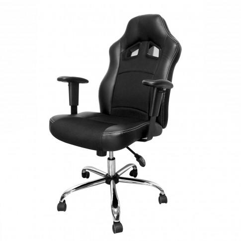 Scaun birou directorial C2, rotativ, imitatie piele + material textil, negru