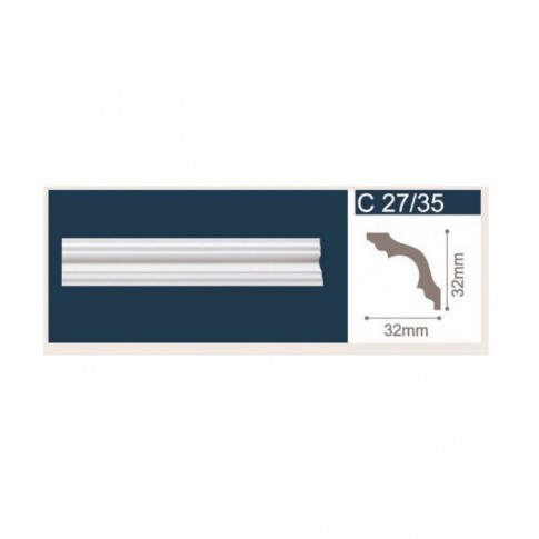 Bagheta polistiren decorativa C27-35 simplu alb 200 x 3.2 x 3.2 cm