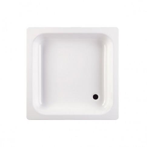 Cadita de dus patrata Fayans 202804, tabla de otel, alb, 90 x 90 cm