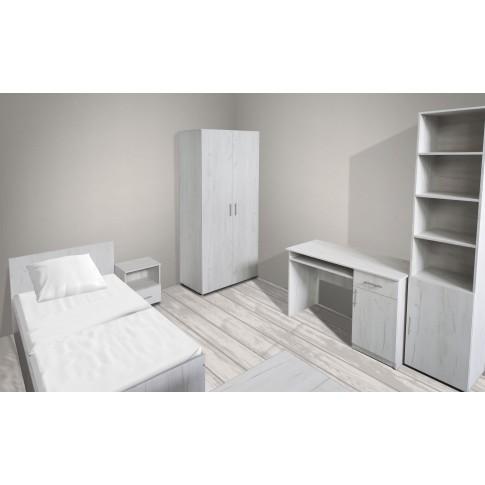 Noptiera camera tineret Stefan, cu 1 raft + 1 sertar, stejar alb, 40 x 48 x 35 cm, 1C