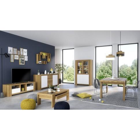 Bufet living cu 3 usi Campton 0159EN3PK, stejar natur + alb, 200 x 45 x 86 cm, 3C