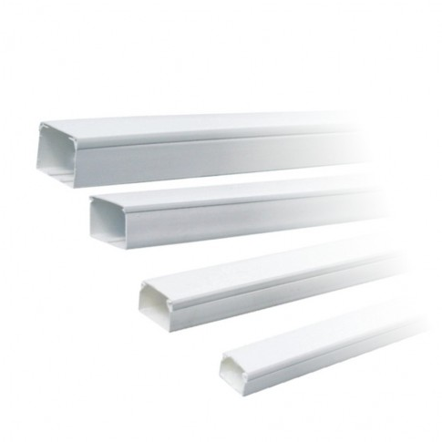 Canal cablu (jgheab) 15 x 10 mm, cu capac, 2 m, alb, PVC ignifugat