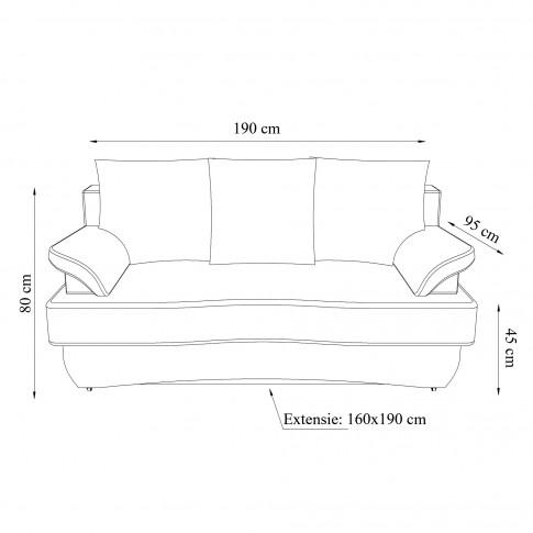 Canapea extensibila 3 locuri Alex, cu lada, albastra, 190 x 95 x 80 cm, 2C