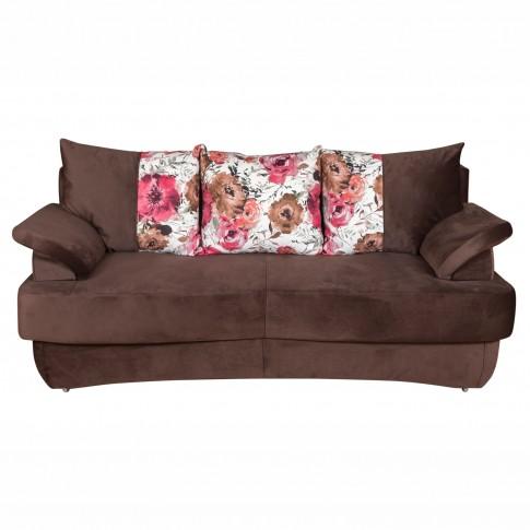 Canapea extensibila 3 locuri Alex, cu lada, maro, 190 x 95 x 80 cm, 2C