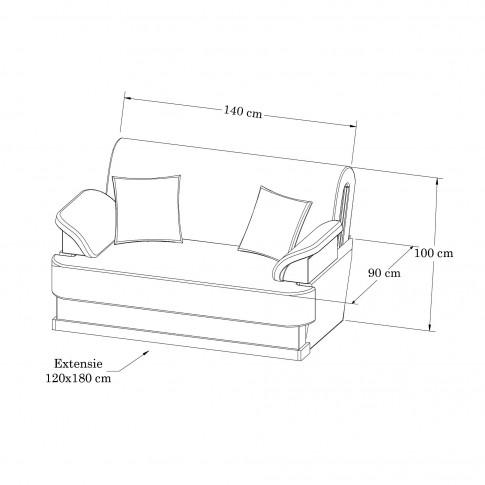 Canapea extensibila 2 locuri Ana, cu lada, crem + maro, 140 x 90 x 100 cm, 1C