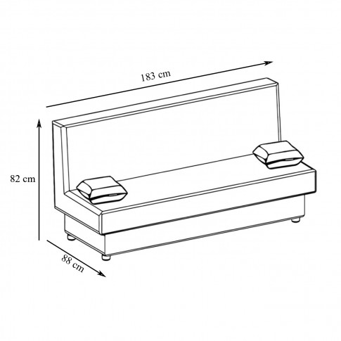 Canapea extensibila 3 locuri Click-Clack, cu lada, Manhattan, alb + negru, 183 x 88 x 82 cm, 1C