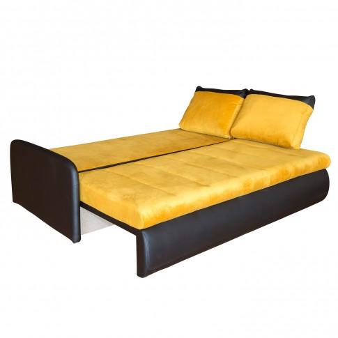 Canapea extensibila 3 locuri Slim, cu lada, galben + negru, 207 x 104 x 83 cm, 3C