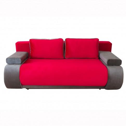 Canapea extensibila 3 locuri Vogue, cu lada, rosu + gri, 195 x 95 x 74 cm, 2C