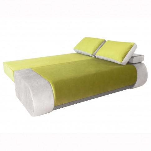 Canapea extensibila 3 locuri Vogue, cu lada, verde + alb, 195 x 95 x 74 cm, 2C