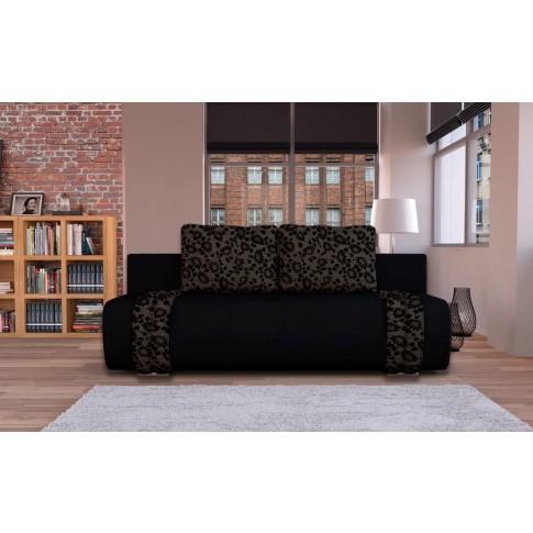 Canapea extensibila 3 locuri Ianis, cu lada, negru + maro, 190 x 92 x 86 cm, 1C