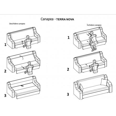 Canapea extensibila 3 locuri Terranova, cu lada, maro + bej, 221 x 97 x 97 cm, 3C