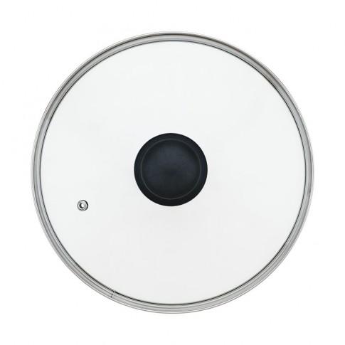 Capac rotund, sticla transparenta, 20 cm