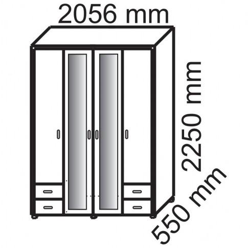 Dulap dormitor Stefan, wenge + bej, 4 usi, cu oglinda, 205.5 x 55 x 225 cm, 5C