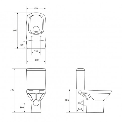 Set vas WC + rezervor + mecanism + capac, Cersanit Carina New Clean On K31-043, din portelan, 35 x 78 x 66 cm