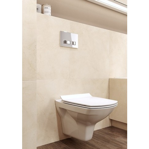 Pachet rezervor apa, incastrat, Cersanit Carina S701-209, vas WC, capac si clapeta de actionare incluse