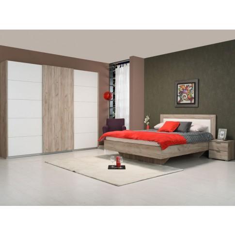 Dulap dormitor Castor, stejar gri + alb, 2 usi glisante, 262.5 x 66 x 222 cm, 8C