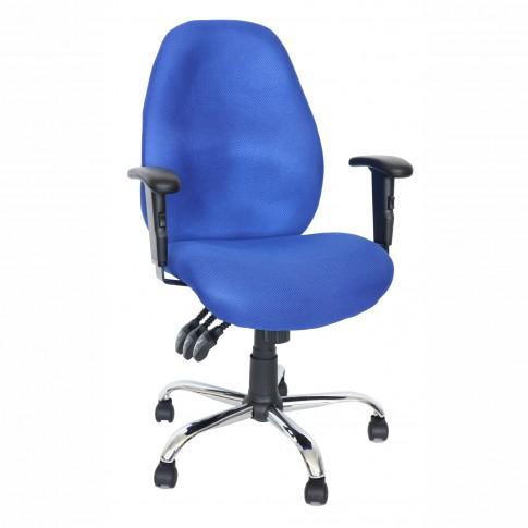 Scaun birou ergonomic Cetus, rotativ, material textil, albastru