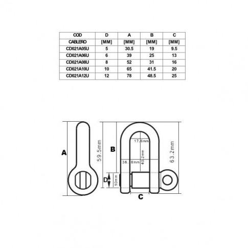 Cheie tachelaj dreapta, Cablero CD021A08G, cu bolt filetat de 8 mm