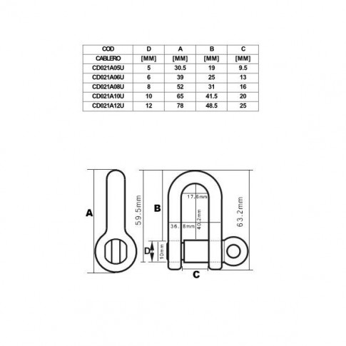 Chei tachelaj drepte, Cablero CD021A06U, cu bolt filetat de 6 mm, set 2 bucati