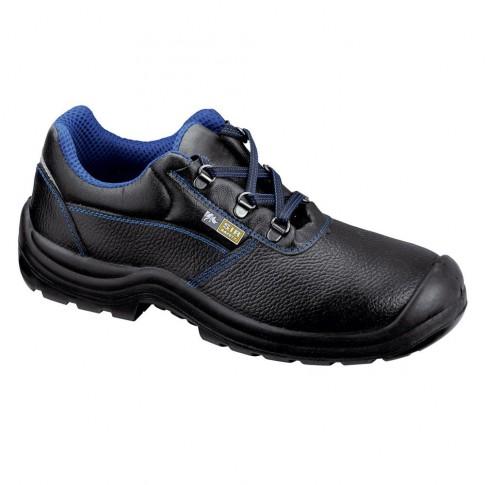Pantofi de protectie Cindrel cu bombeu metalic, piele + textil, negru, S1P, marimea 44