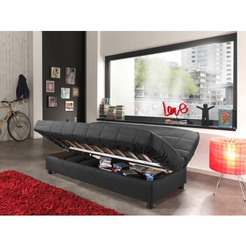 Canapea extensibila 3 locuri Click-Clack, cu lada, neagra, 183 x 88 x 82 cm, 1C