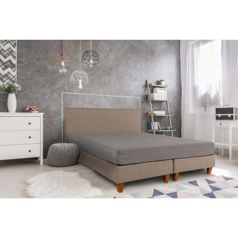 Pat dormitor Bedora Dream, matrimonial, cu saltea, bej, 140 x 200 cm, 2C