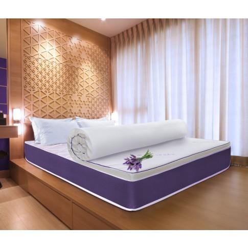 Topper saltea Bedora Dual Confort Lavanda Therapy Memory, 160 x 200 cm, cu spuma poliuretanica + memory