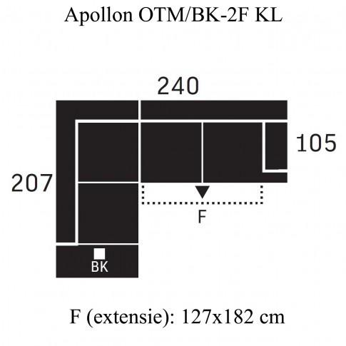 Coltar living extensibil pe dreapta Apollon OTM/BK-2F KL, cu lada, gri, 240 x 207 x 93 cm, 2C