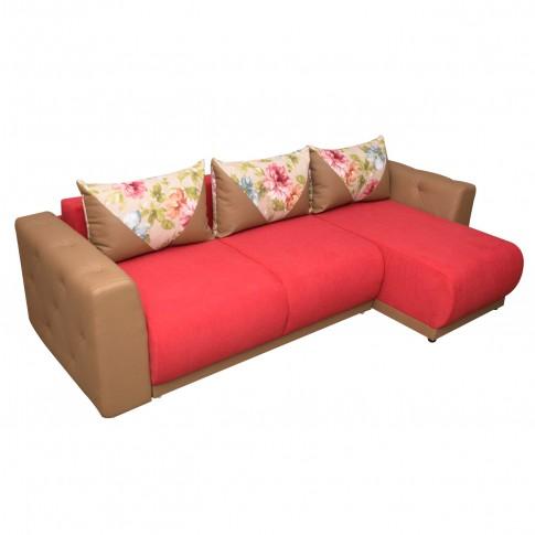 Coltar living extensibil pe stanga Bambus, cu lada, maro + rosu, 266 x 155 x 87 cm, 5C