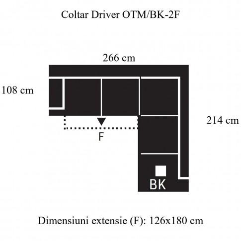 Coltar living extensibil pe stanga Driver II 2F-OTM/BK, cu lada, piele naturala neagra, 266 x 214 x 96 cm, 2C