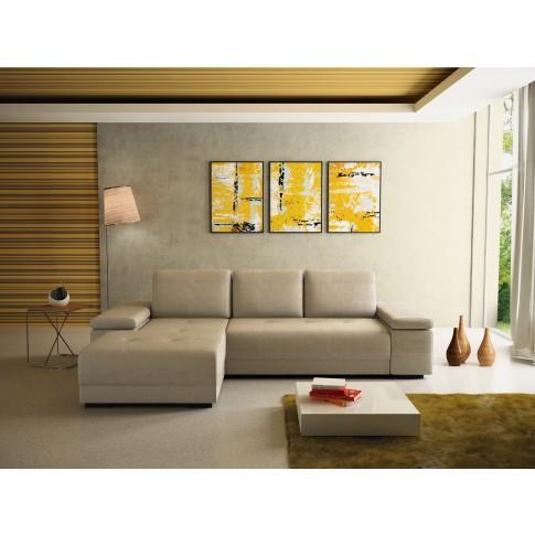 Coltar living extensibil pe dreapta Pierro, cu lada, crem, 273 x 177 x 71 cm, 2C