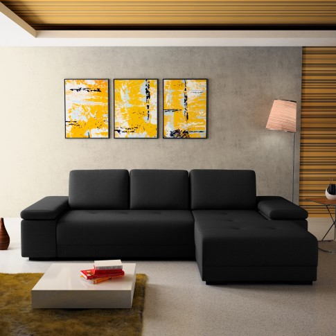 Coltar living extensibil pe stanga Pierro, cu lada, gri inchis, 273 x 177 x 71 cm, 2C
