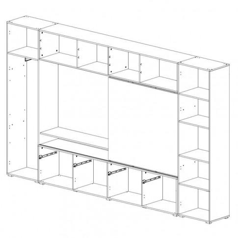Biblioteca living Agora, stejar bardolino + alb + maro + print P55, 349 cm, 7C