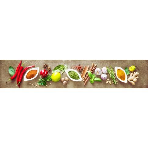 Panou decorativ bucatarie Splashback, compozit, luminescent, SPB 066, condimente, 4000 x 600 x 3 mm