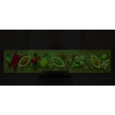 Panou decorativ bucatarie Splashback, compozit, luminescent, SPB 066, condimente, 2000 x 750 x 3 mm