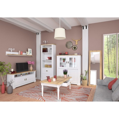 Comoda TV Cottage 0162BATVC, stejar natur + alb, 140 x 37 x 60 cm, 1C