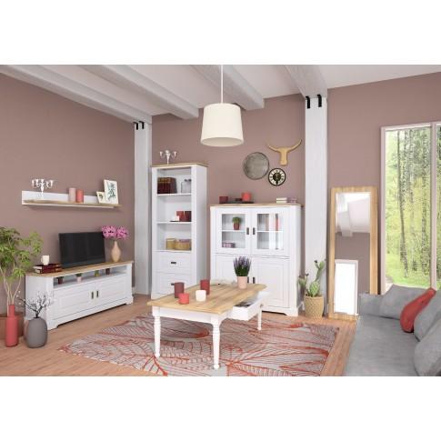 Etajera PAL + MDF, perete, Cottage 0162ETAGC, stejar natur + alb, 140 x 20 x 15 cm, 1C