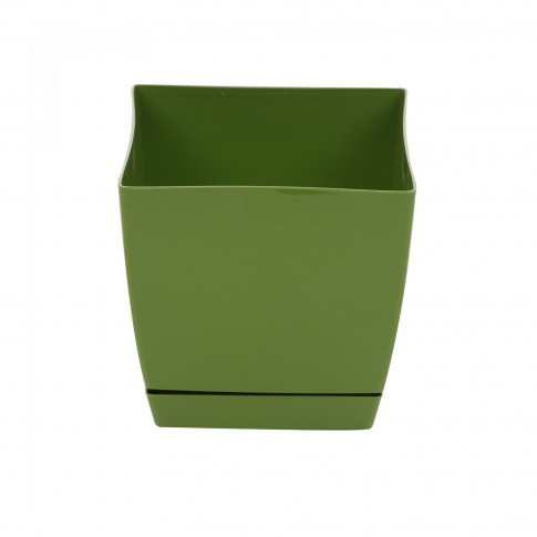 Ghiveci din plastic Coubi, patrat, verde 18 x 18 x 16.5 cm