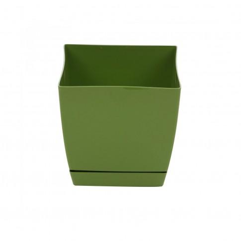 Ghiveci din plastic Coubi, patrat, verde 15.5 x 15.5 x 14.2 cm