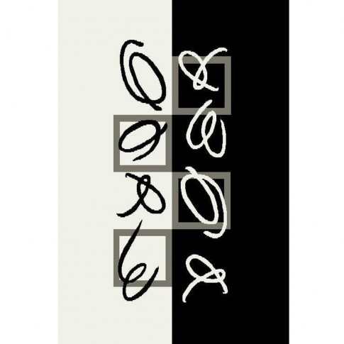Covor living / dormitor Oriental Weavers Trance Marcelo K 512/F35 polipropilena dreptunghiular negru + alb 140 x 200 cm