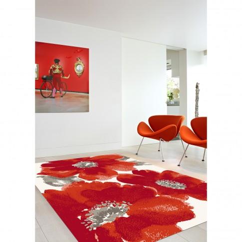 Covor living / dormitor McThree Casin 5021 8S17 polipropilena frize dreptunghiular rosu 60 x 110 cm