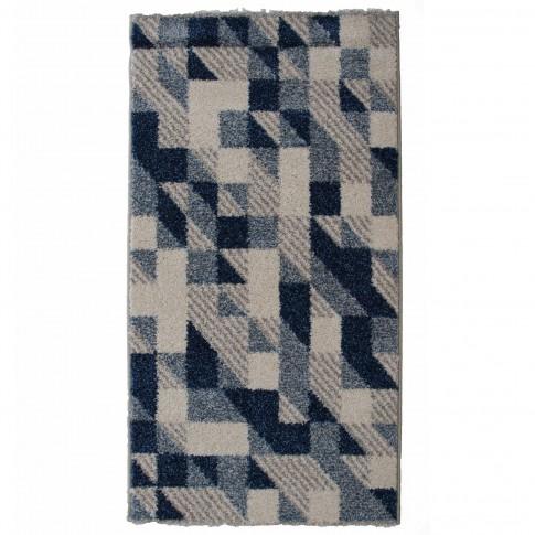 Covor living / dormitor McThree Casin 8072 8V13 polipropilena frize, heat-set dreptunghiular albastru 200 x 290 cm